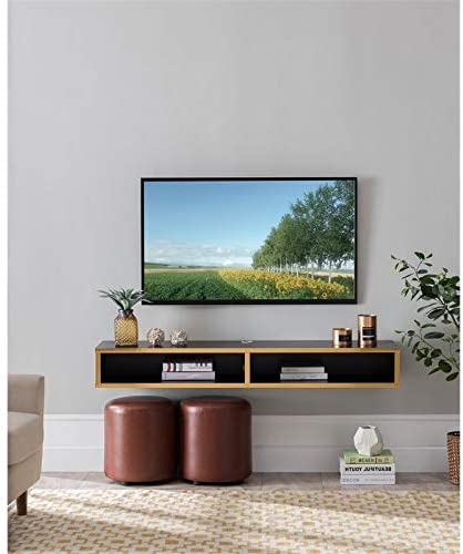 BOWERY HILL Wood Wall Mounted Floating Shelf 60″ TV Stand Console