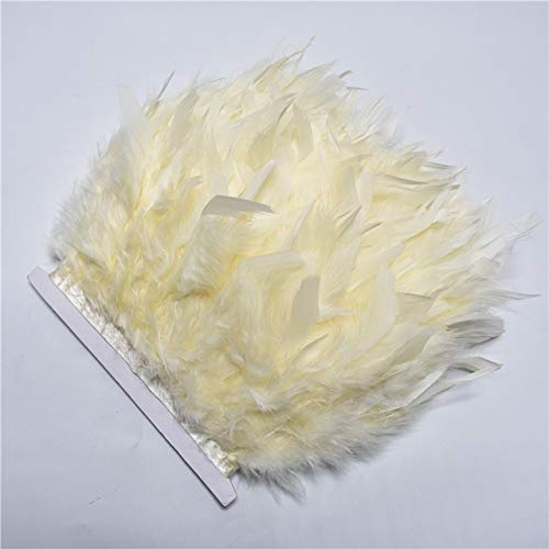 Maslin New 10yards/lot Turkey Feather Fringe Trim 10-15cm chandelle Marabou Feathers for Crafts Carnival Costumes DIY Clothing Plumes - (Color: Cream Color, Size: 10yards) Color Marabou Feather Trim