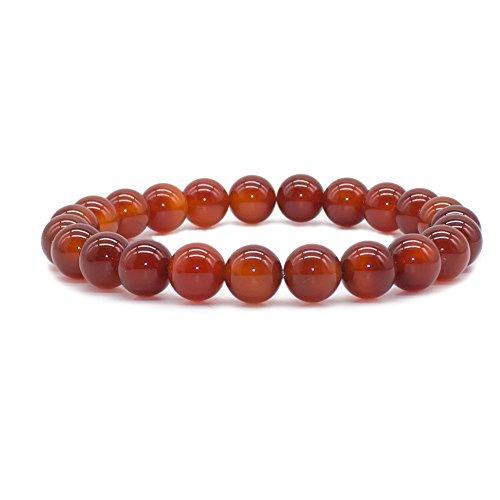 Bivei Natural Gem Semi Precious Gemstone Round Beads Healing Crystal Stretch Bracelet(Carnelian)