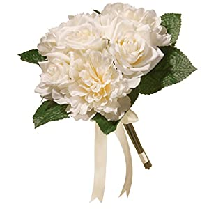 "National Tree 12.2"" Mixed Cream Rose & Peony Bouquet 21"