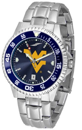 NCAA West Virginia University Mens Stainless Watch COMPM-AC-WVM by SunTime
