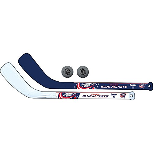 (Franklin Sports Columbus Blue Jackets Mini Hockey Knee Hockey Stick & Ball Set - 2 Stick & 2 Ball Combo Set - NHL Official Licensed Product)