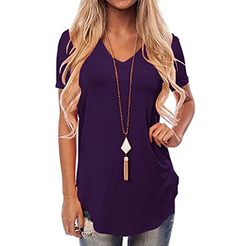 Pervobs T-Shirt, Clearance! Women Summer Tees Casual Print Letter T-Shirt Tops Blouse (M, Purple)