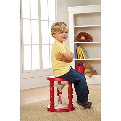 ART & ARTIFACT Time Out Stool for Children - Red Wooden Hourglass for Approximately 10-15 Minute Time Outs