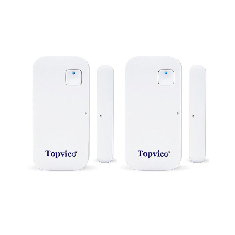 Topvico Smart Door Sensor WIFI APP Control 110dB Chime Open Door/Window Alarm Sensors (2 Pack), No Hub Required, Battery powered