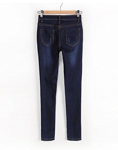 Pantaloni Slim Vita Skinny Immagine Fit Alta Strappati Come Jeans Stretch Ginocchio A Donna qxAw4UEw