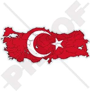 "TURQUÍA Turco Mapa-Bandera Türkiye 5.5"" (140mm) Pegatina de Vinilo Adhesivo, Sticker, Calcomania"