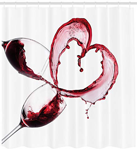 Ambesonne Wine Shower Curtain, Heart with Spilling Red Wine in Glasses Romantic Love Valentines Day Concept, Fabric Bathroom Decor Set with Hooks, 70 inches, Burgundy White Pink
