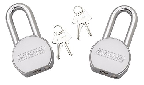 (Schlage 994831 Solid Steel Round Padlock, 63.5mm, 2.5-Inch Shackle, 2-Count Keyed Alike)