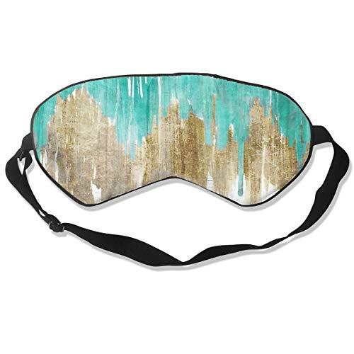 GRFER Opulence Turquoise Aqua Drippy Ikat Best Sleep Mask Travel, Nap, Adjustable Belt Eye Mask for Men and Women