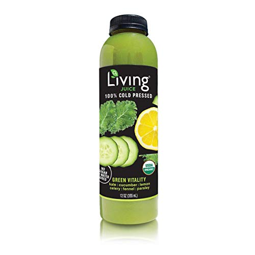 O2 Living Juice Green Vitality Organic Cold-Pressed, No Sugar or Water Added, Made with Kale, Cucumber, Lemon, Celery, Fennel, and Parsley, Loaded with Nutrients, Vitamins, and Minerals (6-Pack)