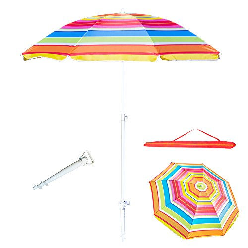 6 Feet Beach Umbrella UV Protection with Telescoping Pole Adjustable Sand Umbrella, Weather Shelter Bonus Carry Bag and Sand Anchor (Red) For Sale