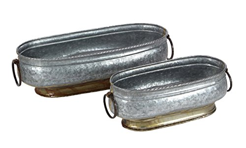 Deco 79 49195 Oval Gray Iron Planters with Handle (Set of - Oval Iron Planter