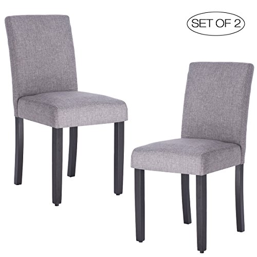 Upholstered Kitchen - Set of 2 Dining Room Chair with Solid Wood Legs ZXBSWELE Urban Style Dining Chair for Kitchen Living Room Dining Room, Linen Fabric, Grey
