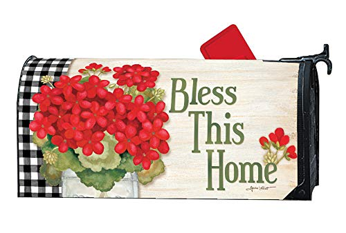 MailWraps Studio M Geranium Blooms Decorative Spring Summer Floral, The Original Magnetic Mailbox Cover, Made in USA, Superior Weather Durability, Standard Size fits 6.5W x 19L Inch Mailbox