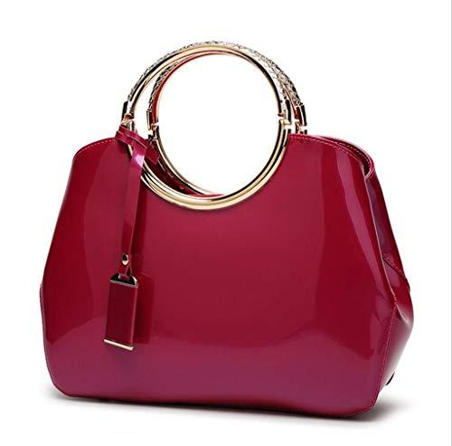 bandoulière en Main Rouge Sac Sac à Rose Rouge Cuir Nouveau Women's Sac Femme Verni à Tout fourre wp1qnR0P