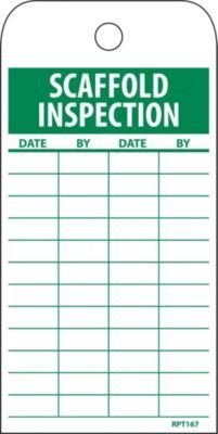 NMC RPT167 ''SCAFFOLD INSPECTION'' Accident Prevention Tag, Unrippable Vinyl, 3'' Length, 6'' Height, Green on White (Pack of 25)
