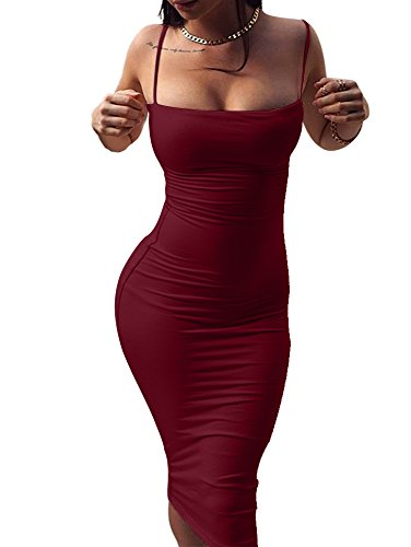 GOBLES Women's Sexy Spaghetti Strap Sleeveless Bodycon Midi Club Dress (S, Wine red)