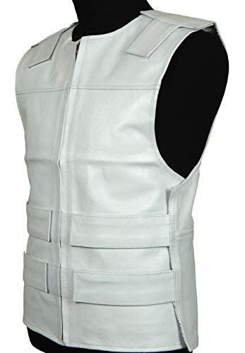 White Leather - Bulletproof Style Motorcycle Vest -