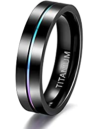 5mm 7mm Rainbow Titanium Ring Colorful Thin Groove Wedding Band Couple Rings Size 3.5-14.5