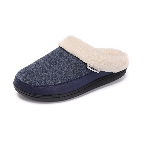Women's House Slipper with Memory Foam,Felt Upper,Plush Fleece Lining(Navy,L) by QYTBM