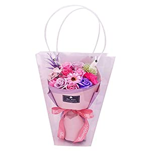 Bduco - 11Pcs DIY Artificial Elegant Scented Soap Real Touch Flower Wedding Bouquets Valentine's Day Gift 28