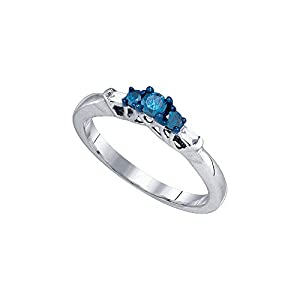 10kt White Gold Womens Round Blue Colored Diamond 3-stone Bridal Wedding Engagement Ring 1/4 Cttw