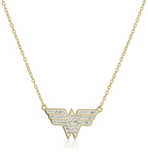 DC+Comics Products : DC Comics 18k Gold Over Silver Wonder Woman Crystal Pendant Necklace, 18''