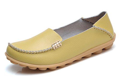 VenusCelia Women's Natural Comfort Walking Flat Loafer(8 M US,Yellowish)