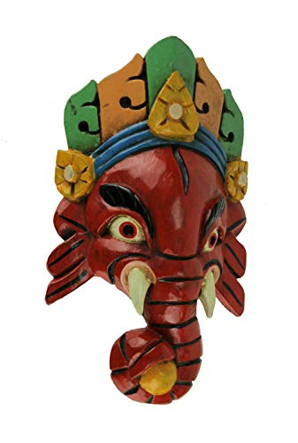 Everest Wings Hand Carved Wooden Ganesha Wall Mask Wall Green/Orange Headdress