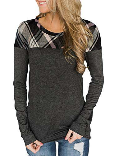 BLENCOT Womens Casual Plaid Round Neck Long Sleeve Loose Fit T Shirt Blouse Tops