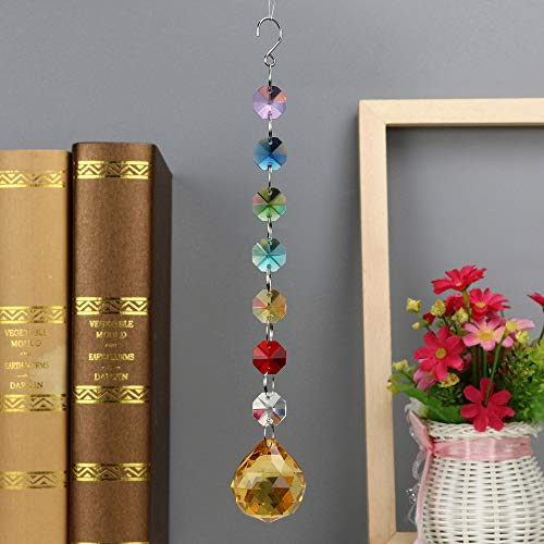 (Hot Sale!DEESEE(TM)12Colors 1PC DIY Bohemian Clear Crystal Ball Prisms Pendant Hanging Wedding Decor Gift (I))
