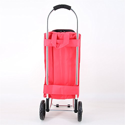 Handcart Hand Truck Insulation Space Aluminum Tube Trolley Folding Pull Rod Luggage Cart Portable Home Waterproof Shopping Cart 25 Kg Load (Color : Pink) by Hw Ⓡ Handcart (Image #3)