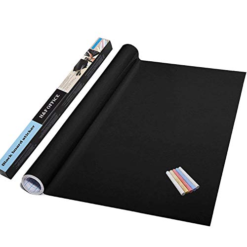 Lependor Thickened Waterproof Chalkboard Contact Paper Wall Dry Erase Self-Adhesive Blackboard Sticker - Blackboard Decal Vinyl Wall Sticker Board Wallpaper (78.7