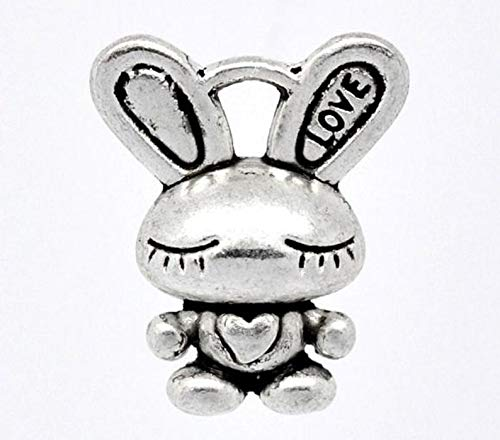 - 6 Bunny Rabbit Charms, Antique Silver Tone (1K-179)