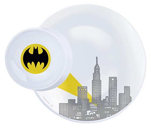 Zak! Designs Multi-Purpose Plate with Built In Dipping Sauce Dish featuring Batman Graphics, Break-resistant and BPA-free Melamine, 11