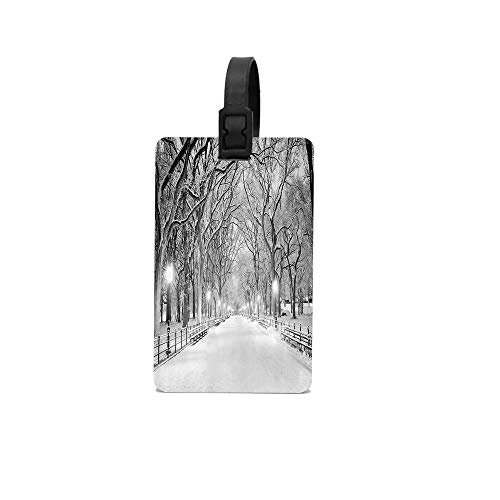 (GTdgstdsc View of Central Park in Winter Snowy Trees and the Walkway Digital Print Luggage Tags With Print For Suitcases, Flexible PVC Travel ID Identification For Bags & Baggage)