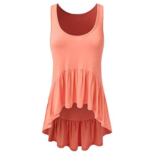 Sunhusing Womens Solid Color Irregular Pleated Ruffled Hem Loose Sleeveless Round Neck Vest Tank Tops Orange