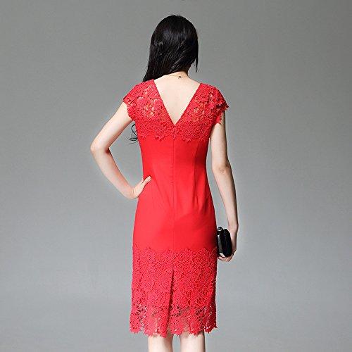 Sypdress 2017 Nueva ropa de verano Vestido Rojo hueco en el largo delgado vestido de encaje de manga corta Falda Hip Bag XXL