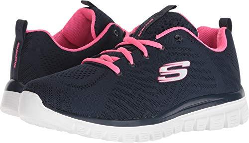 Skechers Sport Women's Flex Appeal Simplistic Sneaker,Navy hot Pink,8 M US