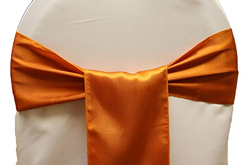 for Decoration bow maroon Pack cover Orange and Events chair Brunt satin chair Party sashes 25 sash sash MDS Supplies wedding of 8pUaqq6