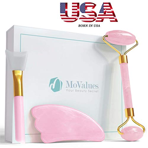 Original Jade Roller and Gua Sha Tools Set- Rose Quartz Face Roller- Real 100% Jade- Face Massager For Wrinkles, Anti Aging- Authentic, Durable, Natural, No Squeaks- Bonus Mask Brush