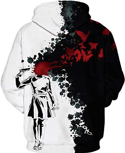 3d Pull shirts Et Capuche Sweat Longues Avec Noir Homme Hoodie Sweats Pochette À Manches Fantaisie Socluer Pullover Blanc Casual XF8qPg