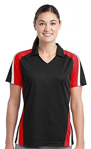 Sport-Tek Women's Tricolor Micropique Sport WickPolo M Black/True Red/White