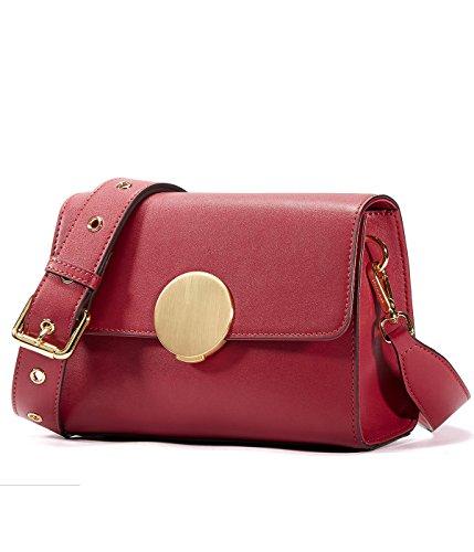 Flap Bag HOUSE Round Wine Bag EMINI Closure Vintage with Women Hardware Red Shoulder IwEqqHOx