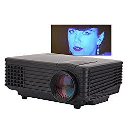 Video Projector,Vecalamo Portable Projector Mini Smart TV Home Cinema Video Movie Projector Support 1080P HD LED USB VGA HDMI AV, Compatible with Smart Phones iPhone iPad Amazon Fire Stick TV (Black)