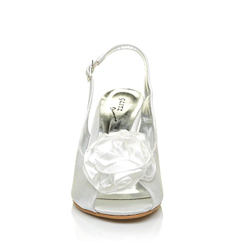 SAM White Satin Peep Toe Flower Design High Heel Sling Back Bridal Shoes XUynzsN