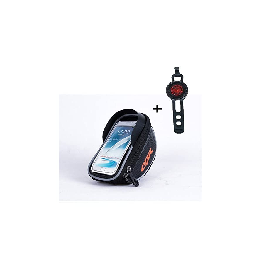 Bicycle Bags (Gifts: Tail Light), Bike Bag Phone Holder, Cycling Bicycle Bike Front Frame Bags Top Tube Pouch handlebar Bag, Suitable for all type bike (Black)
