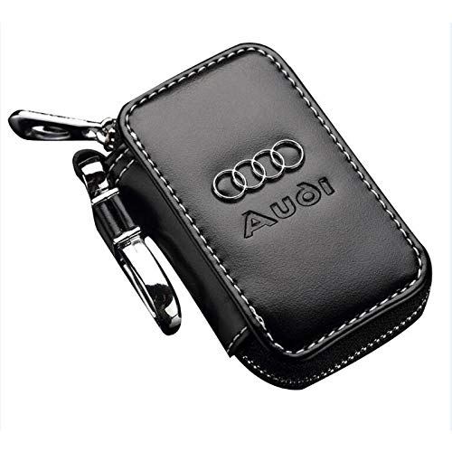 Leather Car Key Case Remote Control package Auto Key Chains (Audi) ()