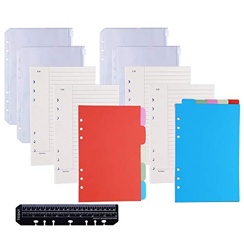 Antner 4 Pack A5 Refill Paper and 4pcs Binder Pockets, 2 Pack Index Tabs and Bookmark Ruler Kit, 6-Hole Refillable Lined Paper for 6-Ring Binder Notebooks (Refill Pocket Paper)